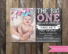 PRINTABLE Chalkboard First Birthday Invitation with Picture - Birthday Invitation - Girls Boys Birthday Party or 1st Birthday Invitations Girl, Baby 1st Birthday, First Birthday Parties, First Birthdays, Birthday Ideas, Birthday Banners, Little Mac, Chalkboard Invitation, Party Time