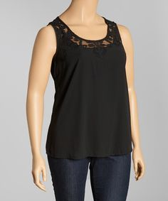 Look what I found on #zulily! Black Floral Lace Sleeveless Top - Plus by Simply Irresistible #zulilyfinds