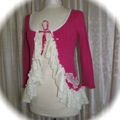 Frilly Pink Sweater, altered couture clothing, womens refashioned upcycled sweater top, MEDIUM LARGE