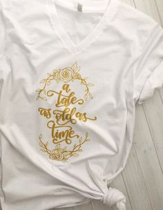 A Tale As Old As Time Beauty & the Beast Vneck Tshirt - Shimmering Gold Design