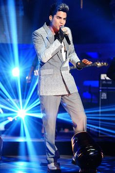 Adam Lambert and Juun J S/S 2012 Grey Blazer ~~  performing on The Graham Norton Show, June 2012