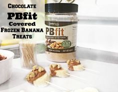 Chocolate PBfit Covered Frozen Bananas With Walnuts — According To D Pb2 Recipes, Snack Recipes, Healthy Recipes, Pb Fit, Banana Treats, Clean Eating Diet Plan, Frozen Banana Bites, Fitness Nutrition