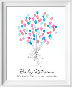 Flying Pig Graduation, Baby Shower, or Birthday Guestbook - fingerprint tree style alternative guestbook