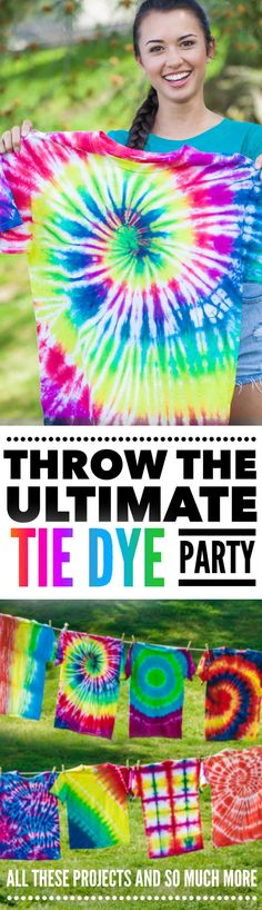 Make every tie dye shirt under the sun with this awesome tie dye kit loaded with enough tie dyes to dye up to 90 projects.   Throw a party up to 10 people with these dyes, gloves, rubber bands, and aprons!  The perfect summer fun and boredom buster activity that's great for sleepovers, back to school, summer camp, church camp and birthday parties.  Every kid young and old loves to tie dye and this is the perfect kit for an afternoon of colorful tie dye fun.