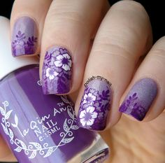 Purple gradient and stamps. #bornprettystore #nails #stamps #purple