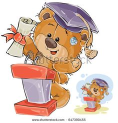 Vector illustration of a cheerful brown teddy bear in the graduation cap holding in his paws a university diploma and delivers a speech at the graduation ceremony. Print, template, design element