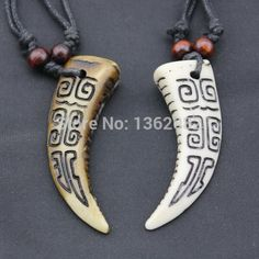 Cool Simulation bone carved with Swastika Pendant Wolf Tooth Necklace Amulet…