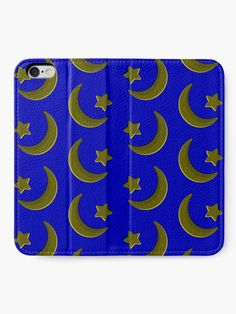 """""""Gold on Blue, crescent moon and star pattern"""" iPhone Wallet by cool-shirts 