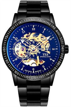0f581004f02 High quality All Black Steel Mens Automatic Watch Product Features  Black  Plated Metal Watch.