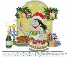 """ru / mornela - L'album """"Happy New Year Counted Cross Stitch Patterns, Cross Stitch Embroidery, Cross Stitch Kitchen, Crochet Kitchen, Nouvel An, Christmas Cross, Cross Stitching, Needlepoint, Mosaic"""
