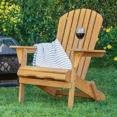 Best Choice Products Outdoor Wood Adirondack Chair Foldable Patio Lawn Deck Garden Furniture