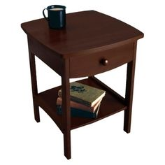 The Winsome Fairlee End Table proves that simple can be sophisticated. This end table is made of solid wood with a dark walnut finish. Small Accent Tables, Round Accent Table, Winsome Wood, Wood Nightstand, Thing 1, Wood End Tables, Walnut Finish, Wood Accents, Home Decor