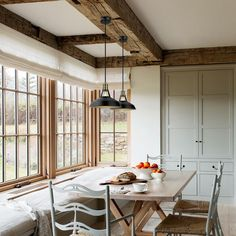 Offer a clean, casual look to your living space by installing this Robin One Light Satin Black Pendant from Globe Electric. Scandinavian Cabin, Scandinavian Interior, English Kitchens, French Cottage Kitchens, Modern French Kitchen, Plain English Kitchen, English Farmhouse, Cabin Kitchens, Cabin Interiors