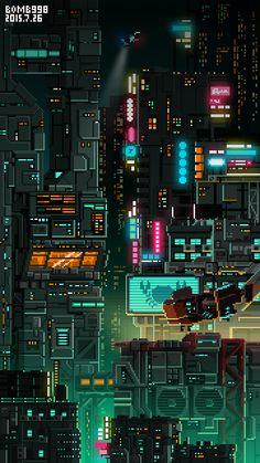 STARLIGHTCITY - 原创作品 - 站酷(ZCOOL) Cyberpunk City, Cyberpunk Kunst, Cool Wallpaper, Wallpaper Backgrounds, Mobile Wallpaper, Iphone Wallpaper, Arte 8 Bits, Pixel Art Background, 8bit Art