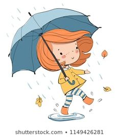 Find Girl Umbrella Autumn stock images in HD and millions of other royalty-free stock photos, illustrations and vectors in the Shutterstock collection. Art Anime Fille, Anime Art Girl, I Love You Drawings, Easy Drawings, Illustrations, Children's Book Illustration, Doodle Art, Zentangle, Illustration Mignonne