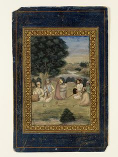 A Mughal prince, perhaps the young Dara Shikoh, visiting a darvish at night in the company of courtiers and musicians