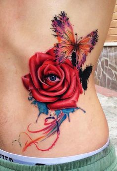 rose with eye and butterfly tattoo - 40 Eye-catching Rose Tattoos   <3