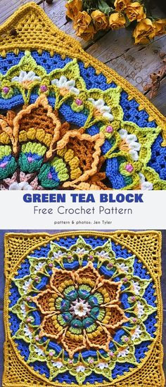 Beautiful Flower Afghan Block Free Crochet Patterns – – – Knitting patterns, knitting designs, knitting for beginners. Motif Mandala Crochet, Crochet Motifs, Granny Square Crochet Pattern, Crochet Blocks, Crochet Flower, Crochet Stitches, Free Crochet Square, Crochet Squares Afghan, Ripple Afghan