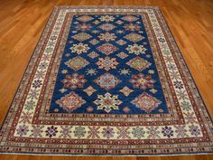 8' x 10.5' Denim Blue 100% Wool Super Kazak Tribal Hand Knotted Oriental Rug Sh15226