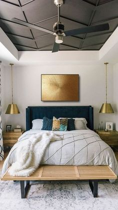 Home Decor Bedroom, Bedroom Wall, Interior Design Living Room, Bedroom Ceiling, Bedroom Ideas, Calm Bedroom, Lighting Ideas Bedroom, Paint Ceiling, Interior Design Masters