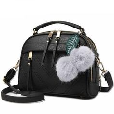 Women's Very Cute Small Shoulder Bags with Cutie Fur Balls and Zipper Tassels
