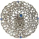 Splendid Filigreed Pewter Dreidel with Blue Gemstones