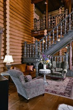 love the furniture and ornate woodwork in this siberian home