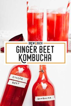 This Ginger Beet Kombucha is an antioxidant packed fermented brew that even the beet haters might like! It's a balance between sweet and zingy, with a color that pops! Kombucha Flavors, Kombucha Recipe, Kombucha Fermentation, Fun Drinks, Healthy Drinks, Mixed Drinks, Healthy Tips, Healthy Food, Healthy Recipes