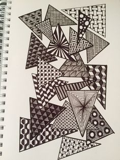 new Ideas for zentangle art dibujos lineas Doodle Art Drawing, Zentangle Drawings, Mandala Drawing, Art Drawings, Zentangles, Zen Doodle, Doodle Patterns, Zentangle Patterns, Doodle Art Journals