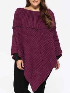 | Black Friday Sale: Extra 15% OFF Using Code SAMMY2016 | Plus Size Chunky Asymmetric Knitted Cape in Purplish Red | Sammydress.com