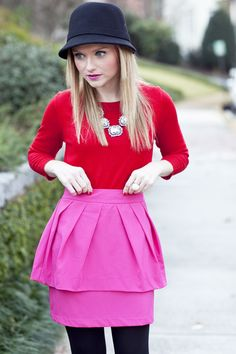Poor Little It Girl - Bold Winter Look of Pink and Red - @Poor Little It Girl