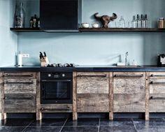 Rustic Italian Home – La Bella Vita Home Decor Kitchen, Kitchen Interior, Home Kitchens, Reclaimed Wood Kitchen, Rustic Kitchen, Industrial Kitchen Design, Industrial Kitchens, Design Your Dream House, Kitchen Units