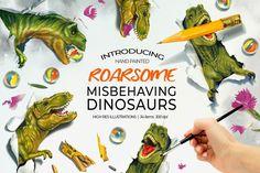 Dinosaurs Misbehaving - Roarsome T-Rex By Gina Heyer Illustration Studio Dinosaur Illustration, Pencil Illustration, Graphic Illustration, Illustrations, Hello Beautiful, Tile Patterns, T Rex, Watercolor And Ink, Pattern Wallpaper