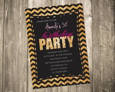 Glitter Chevron 30TH Birthday Invitation by CustomPartyDecor, $8.99