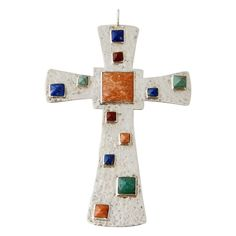 Emilia Castillo Sterling Lapis Lazuli Multi Stone Silver Cross Pendant 1990   From a unique collection of vintage more jewelry at https://www.1stdibs.com/jewelry/more-jewelry-watches/more-jewelry/