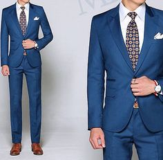 Custom Made To Measure Men Suits,Dark Blue Men Tuxedo With Peak Lapel,1 Button in Clothing, Shoes & Accessories,Wedding & Formal Occasion,Men's Formal Occasion | eBay