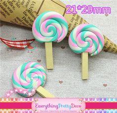 3 Piece Polymer Clay Rainbow Lollipop Cabochon (EPD1442)