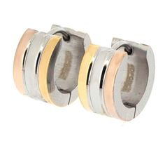 Edforce Stainless Steel Tri-Tone Huggy Earring with Two Channel Design