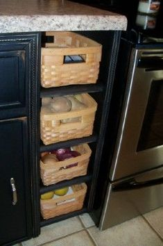 Diy Kitchen Shelves Food Storage Refrigerators 19 Ideas For 2019 Food Storage Rooms, Small Kitchen Storage, Kitchen Shelves, Kitchen Backsplash, Kitchen Organization, Kitchen Cabinets, Storage Ideas, Wood Shelves, Wood Cabinets