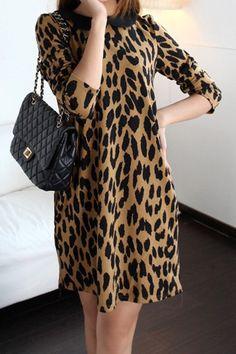 Lapel Long Sleeve Leopard Printed One-piece Dress, #Wendybox