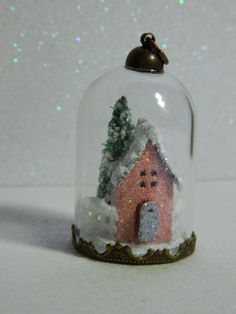 All mine designs, by Sharon Smith, papertrey Ink inspired, petite places, home and garden, necklace, or ornament for small tree. Miniature