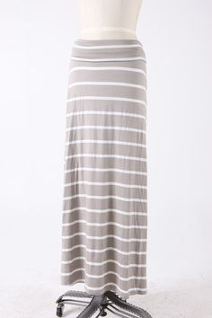 $38 - Taupe striped knit maxi skirt