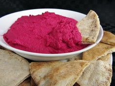 Hot pink hummus...all natural, no food colouring! Coloured with beets. Yummm!