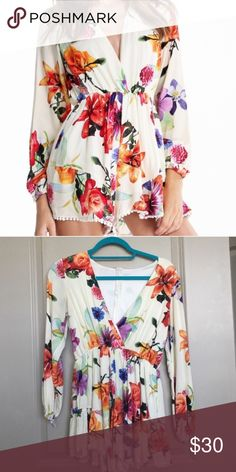 """Buy.Buy.Bye. Long Sleeve Flower Sexy + Cute Romper I love this romper so much but it is a large but fits like a small-medium. I'm tall so it didn't fit me right. Only wore once over a swim suit. I'm 5'6 and weigh 144 so anyone that weighs 100-130 could fit and if they have a short torso. If you have a skinny booty less than 39 inches around then you should be able to fit this. My booty is 39"""" so if I had a little less booty, it could have worked. Super cute! This will go fast. CHOISE Other"""
