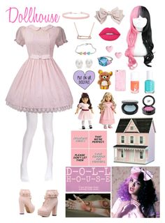 """Dollhouse - Melanie Martinez"" by ender1027 ❤ liked on Polyvore featuring Dollhouse, Cara, Essie, Lime Crime, Beauty Is Life, FACE Stockholm, River Island, Miss Selfridge, Bling Jewelry and Hamilton"