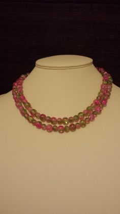 Beautiful pink and green crackle glass long beaded by VickysBeauty
