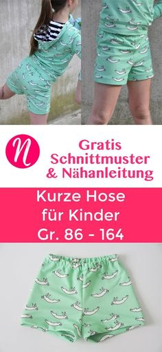 KFreebook - Kurze Hose für Kinder in Gr. 86 - 164 - Gratis Nähanleitung & Schnittmuster ❤ Nähtalente - Magazin für kostenlose Schnittmuster ❤ Free sewing pattern for an easy shorts for children. Sewing pattern in size 86 - 164. Easy and fast to sew.