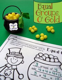 """equal groups of """"gold"""" Working With Arrays And A Multiplication Freebie!"""