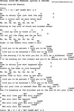 Love song: Skinny Love-Ed Sheeran With Chords and Lyrics, For ukulele, guitar, banjo and other instruments. Ukulele Tuning, Ukulele Chords Songs, Lyrics And Chords, Love Songs Lyrics, Piano Songs, Guitar Songs, Piano Music, Ed Sheeran Ukulele, Ed Sheeran Lyrics