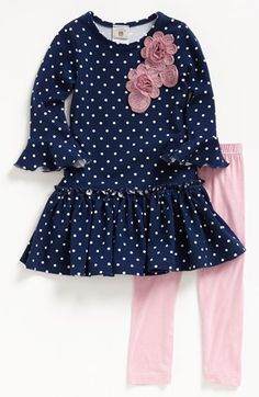 just bought this!Pippa & Julie Polka Dot Tunic & Leggings (Toddler Girls) available at Little Girl Outfits, Little Girl Fashion, Baby Outfits, Toddler Outfits, Fashion Kids, Kids Outfits, Toddler Girls, Toddler Hair, Toddler Fashion